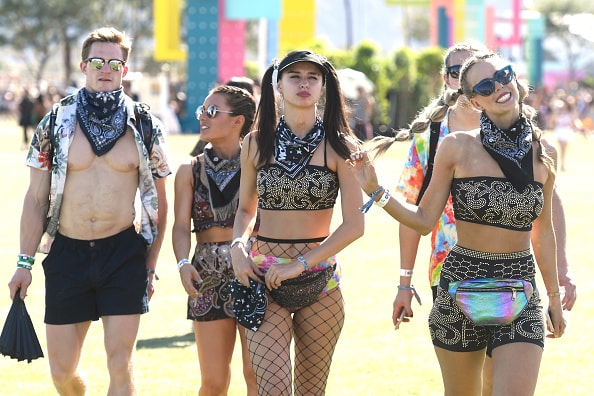 INDIO, CA - APRIL 13:  Festivalgoers attend the 2019 Coachella Valley Music And Arts Festival on April 13, 2019 in Indio, California.  (Photo by Frazer Harrison/Getty Images for Coachella)
